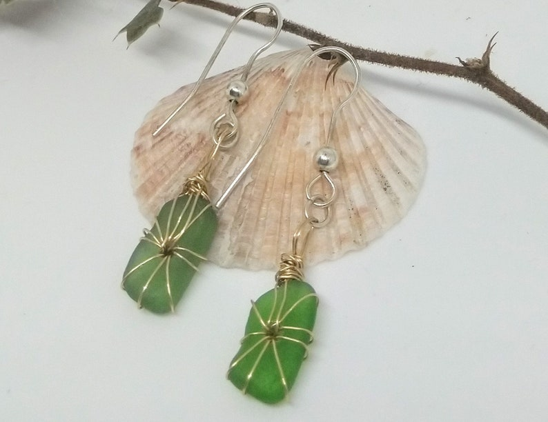 Vivid green sea glass earrings with copper wire / emerald image 0