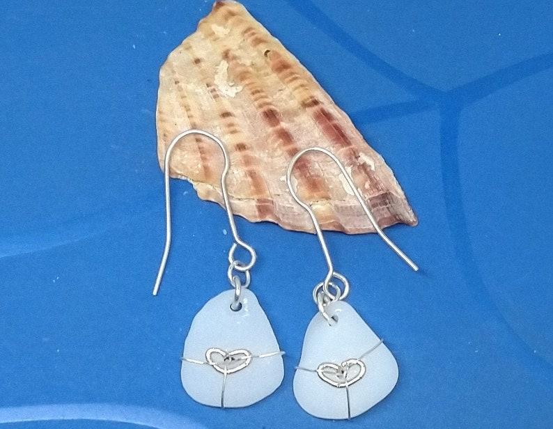 Rare white beach glass earrings / 9k gold hearts / fine silver image 0
