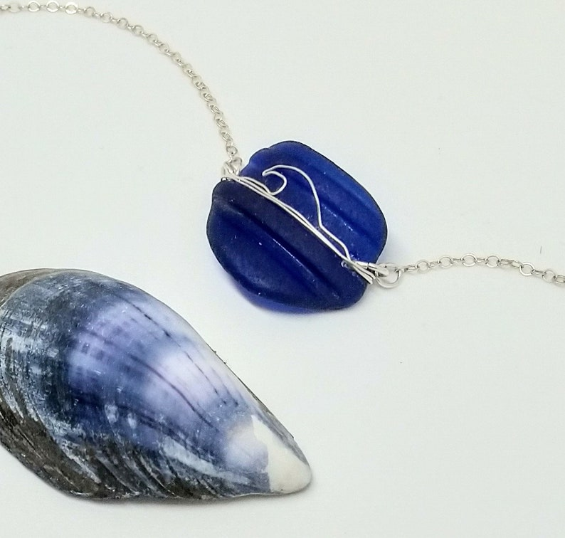 Cobalt blue sea glass necklace with a fine silver wire wave image 0
