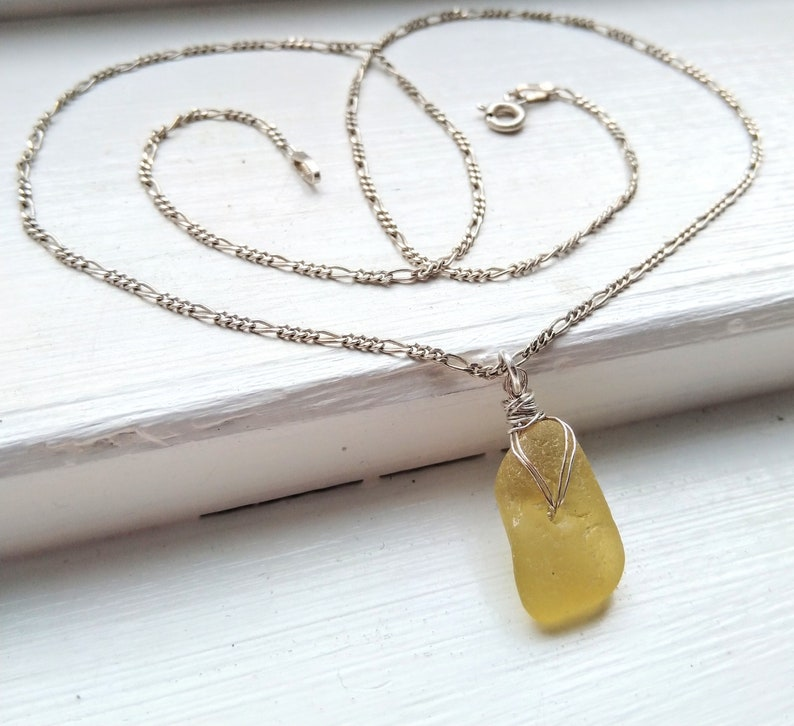 Golden yellow sea glass necklace / yellow beach glass necklace image 0