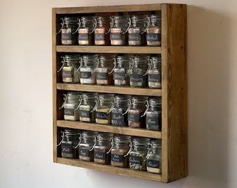 Rustic Spice Rack Includes Jars Reclaimed Pallet Wood, Handmade, Kitchen Storage