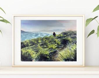 Original painting - Cornish South West coast path - A3