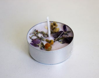 Spell Candle Soy Wax, Anti Anxiety, Anxiety relief, Lavender, Amethyst, Tealight