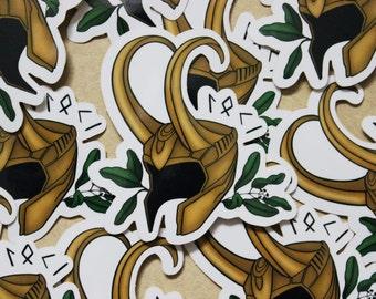 Loki Helmet Vinyl Sticker, Norse Mythology, Marvel, God of Mischief, Avengers