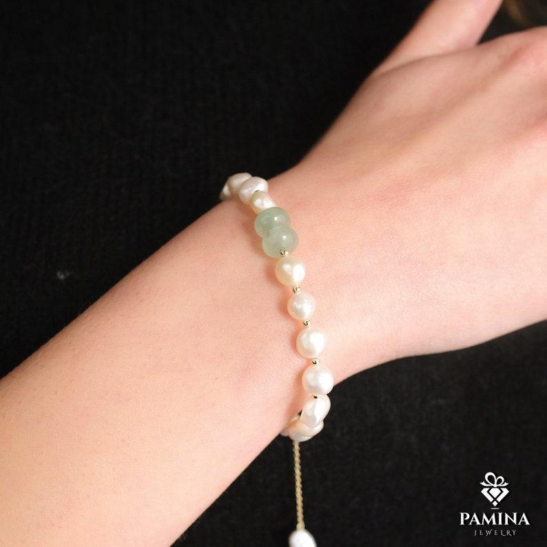 Pearl Bead Bracelet Gift For Women Bangles Freshwater Pearl Bracelets Wedding Gift Crystal Beads Charm Bracelets Birthday Gift Beads