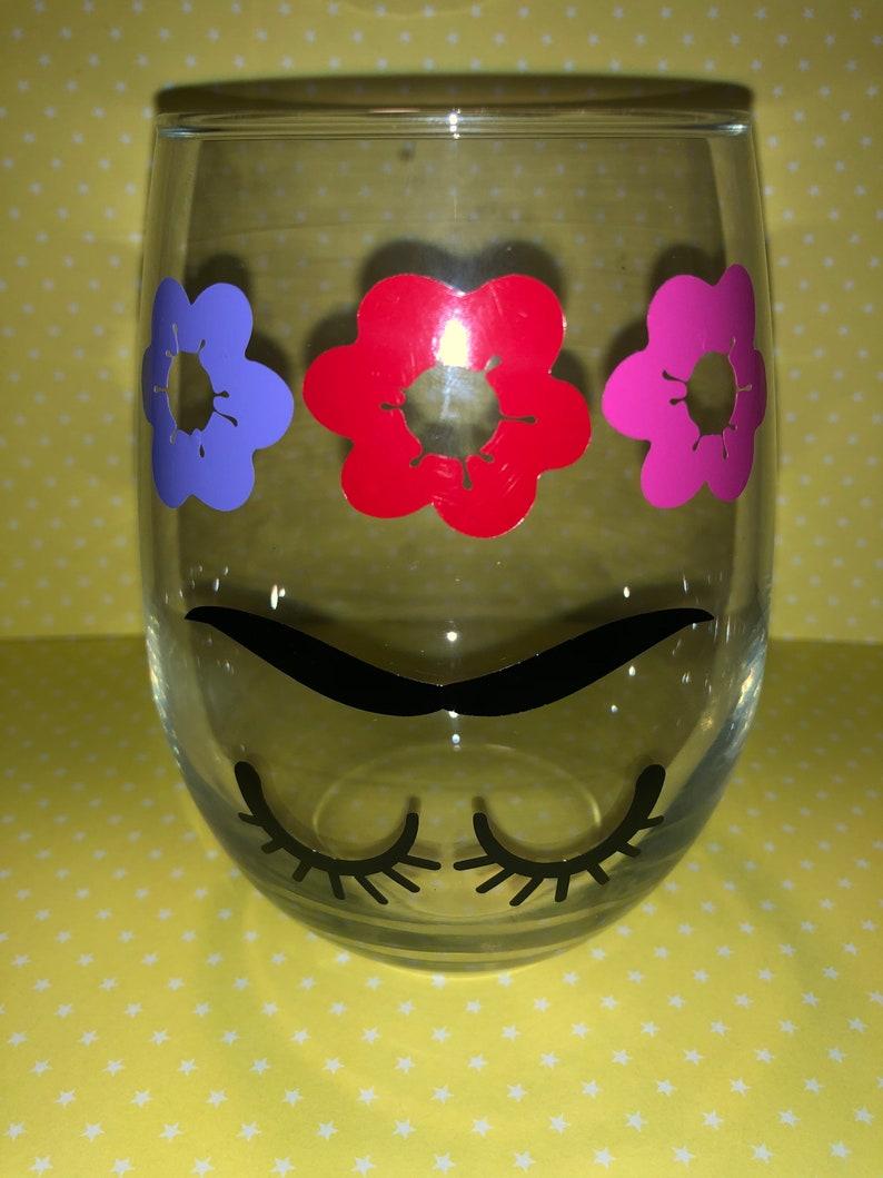 Frida Khalo wine glass