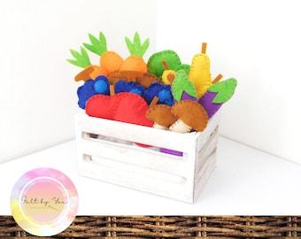 DIY felt fruits and vegetables, felt food, felt toy gift, toddler educational toy, felt activity toy
