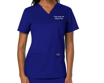Blue Mouse Patterned /%100 Cotton Scrub Top Doctor Nursing Scrubs FREE Shipping Medical Top Unisex V-Neck Nurse Scrub Top