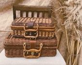 Vintage Wicker Bag Wicker Purse Vintage Picnic Basket Vintage Wicker Suitcase