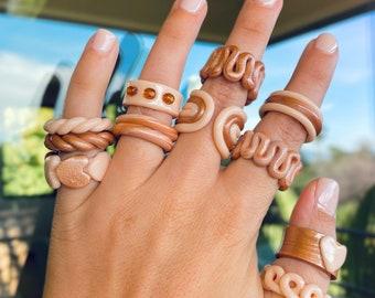 Indie rings. Swirly chunky clay rings
