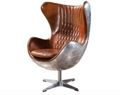 Aviator Mid Century Modern Classic Arne Jacobsen Style Egg Replica Lounge Chair with Premium Brown PU Leather and Polished Aluminum Frame