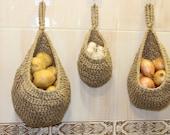 Large Hanging Potato Basket Set, Wall Mounted Onion and Garlic Basket, Hanging Jute Wicker Fruit Storage Basket, Eco-friendly Basket