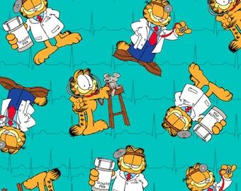 Garfield Cartoon Cat Cotton Fabric, By the Half Metre
