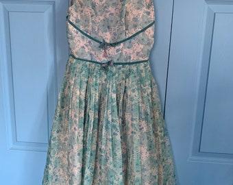Vintage girl's blue floral dress