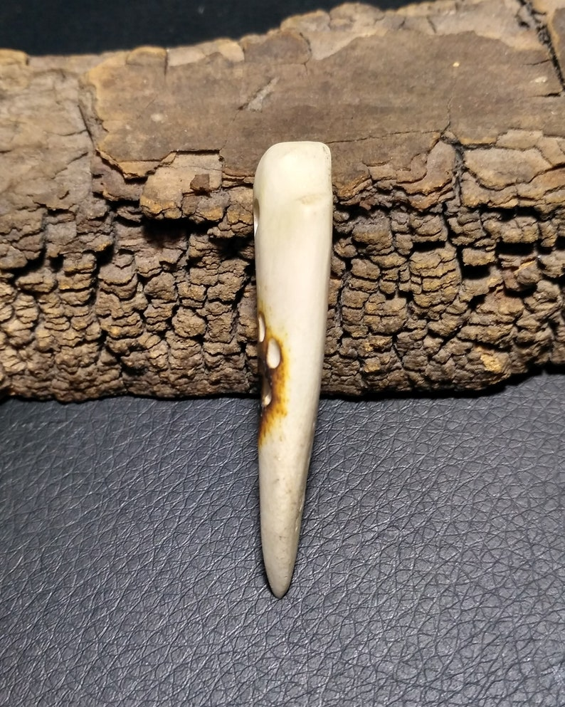 Bone pendant in the form of a fang and a picture of a paw
