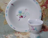 Vintage Child 39 s Martian Rocketship Robot Puss n boots character Porcelaine De Limoges France Egg Cup Cereal Bowl set