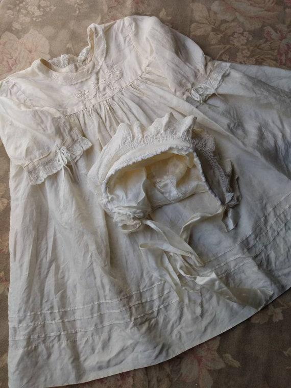 1920's Little Girl's Silk Dress & Bonnet - image 2