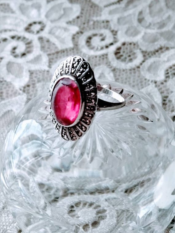 Antique Ruby & Marcasite Sterling Silver Ring sz.… - image 4