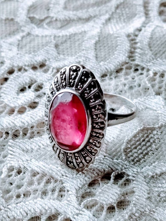 Antique Ruby & Marcasite Sterling Silver Ring sz.… - image 1