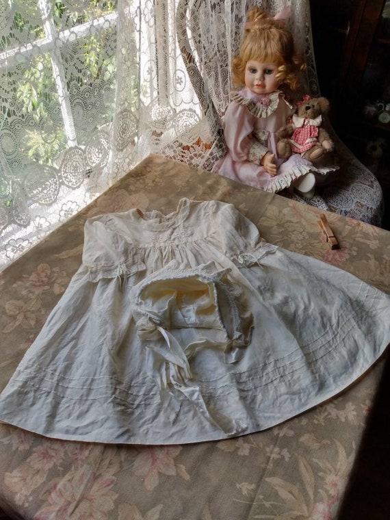 1920's Little Girl's Silk Dress & Bonnet - image 7