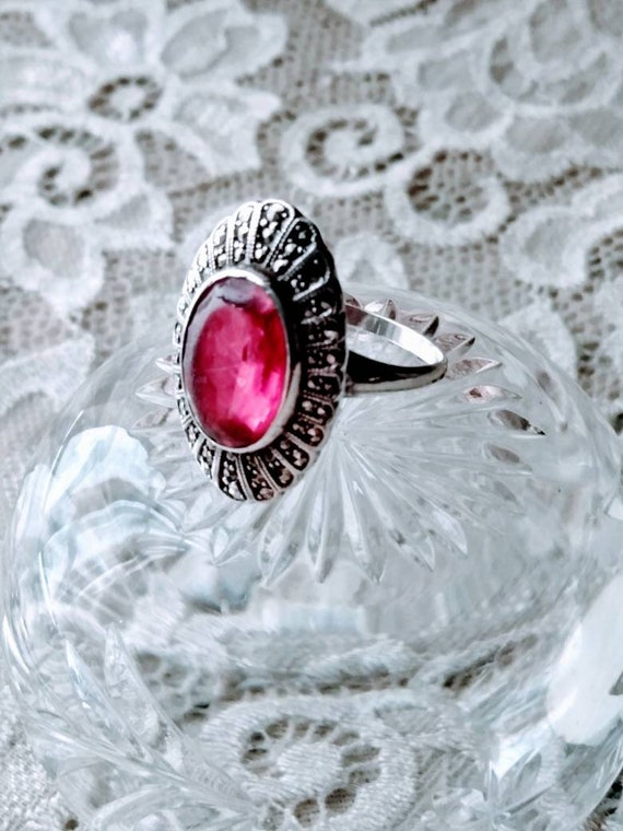 Antique Ruby & Marcasite Sterling Silver Ring sz.… - image 8
