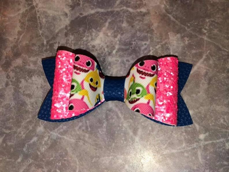 shark bow faux leather bowkids bowskids headbandsnylonbaby bow toddler bowbirthday kid bowheadbanddis headwrap back to school fabric