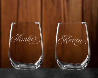 Personalized etched stemless wine glasses, custom engraved tumbler,  Custom Barware, Gift for her Birthday, Gift for Wedding Bridesmaid