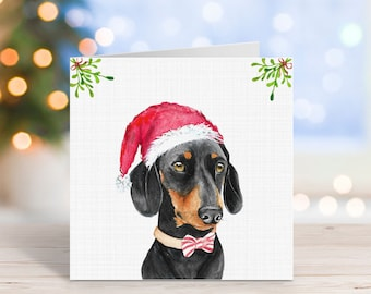 Black and Tan Dachshund Christmas Card/Sausage In Santa Hat/Dog In Elf Hat/Canine Celebration Card