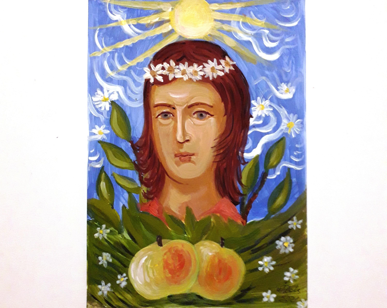 Naive Malerei Mädchen Portrait Original Kunst Aquarell