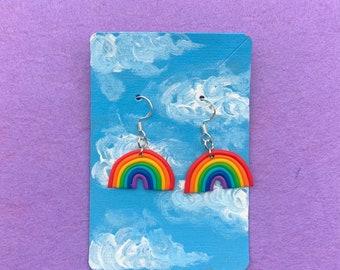 Mini vivid rainbow earrings