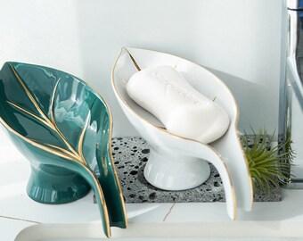 Ceramic Soap Dish - Sponge Holder -Ceramic Soap Holder - Modern Design - Bathroom Essentials