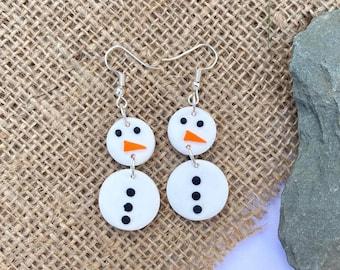 Polymer Clay Earrings, snowman earrings, christmas earrings, clip ons, dangle & drop, statement earrings, y2k earrings, modern, studs, xmas
