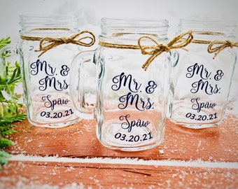 Eat Drink Mason Jar Favors Set of 12 Personalized Wedding Favor Candles Party Reception Bridal Shower Favors Shower Wedding Favors