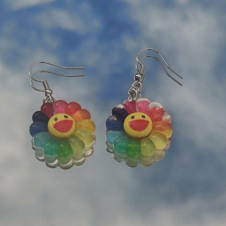 Rainbow Flower Quirky Earrings