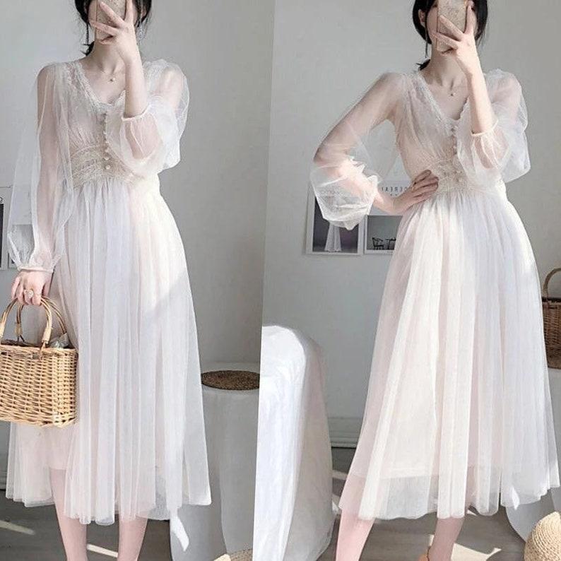 Cottagecore lolita off-white midi lace dress image 0