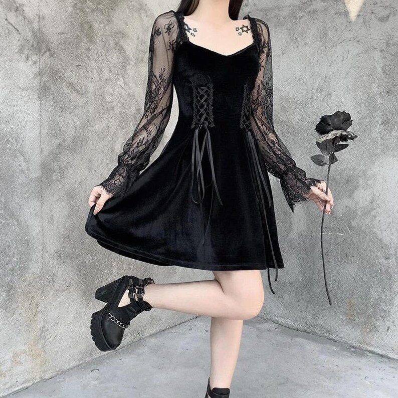 Black gothic vintage velvet corset dress cottagecore lolita image 2