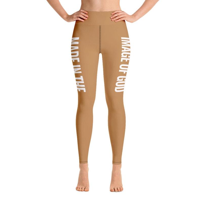 Woman Leggings Made In The Image Of God Yoga Leggings in Light Brown Color Gift for Her Leggings for Women Gift for Women