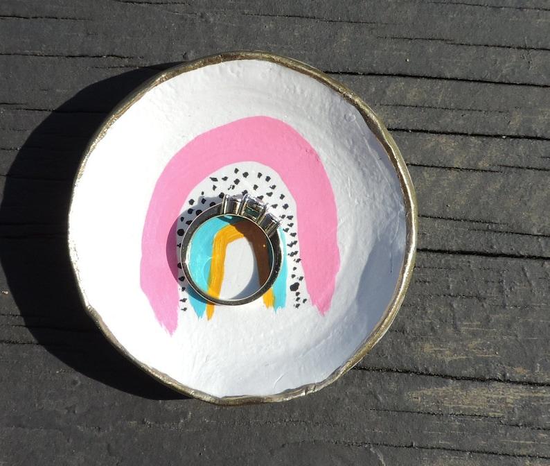 Boho Style Custom Ring Dish Name Ring Bowl Ring Holder Girl Birthday Gift Colorful Ring Dish Rainbow Trinket Dish Rainbow Ring Dish