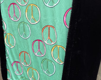 Hand Stamped Swaddle Blanket Baby Blanket Cotton Lime GreenTeal You Pick Paint Color Vintage Inspired Peace Sign