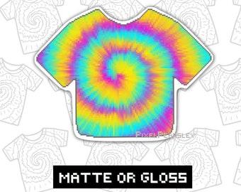 Tie dye sticker, Vinyl decal, Pixel art, Tie dye decal for laptop, Pixel sticker Tie dye spiral sticker, Colourful stickers for water bottle