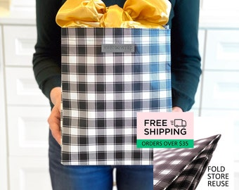 2 Designs - Medium Reusable Gift Bag with Fabric Satin Bow, Heavy Duty, Sustainable Cloth Wrapping Gift Sack Furoshiki EverWrap