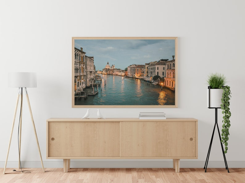 Venice \\\\ Canal at sunset to the south Turquoise Orange Printable digital photograph