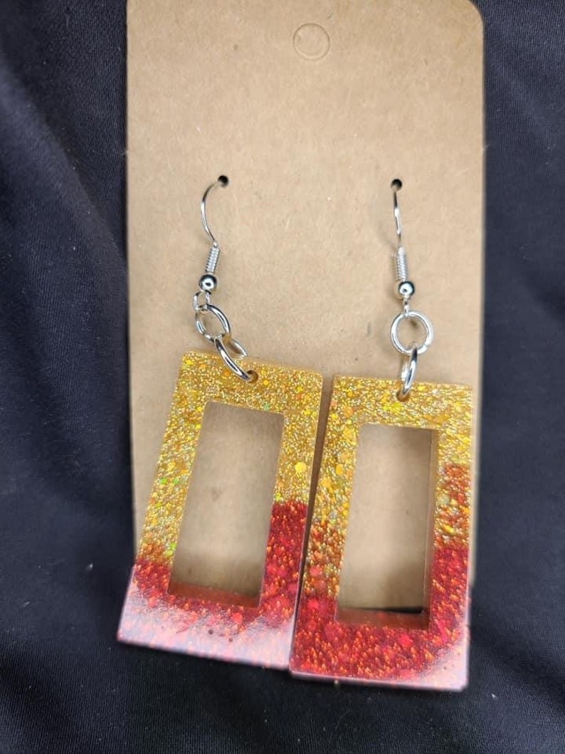 Red and Gold Trapezoid Cutout Epoxy Earrings