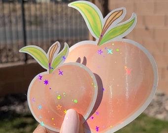 Peach Sticker - Holographic STARS