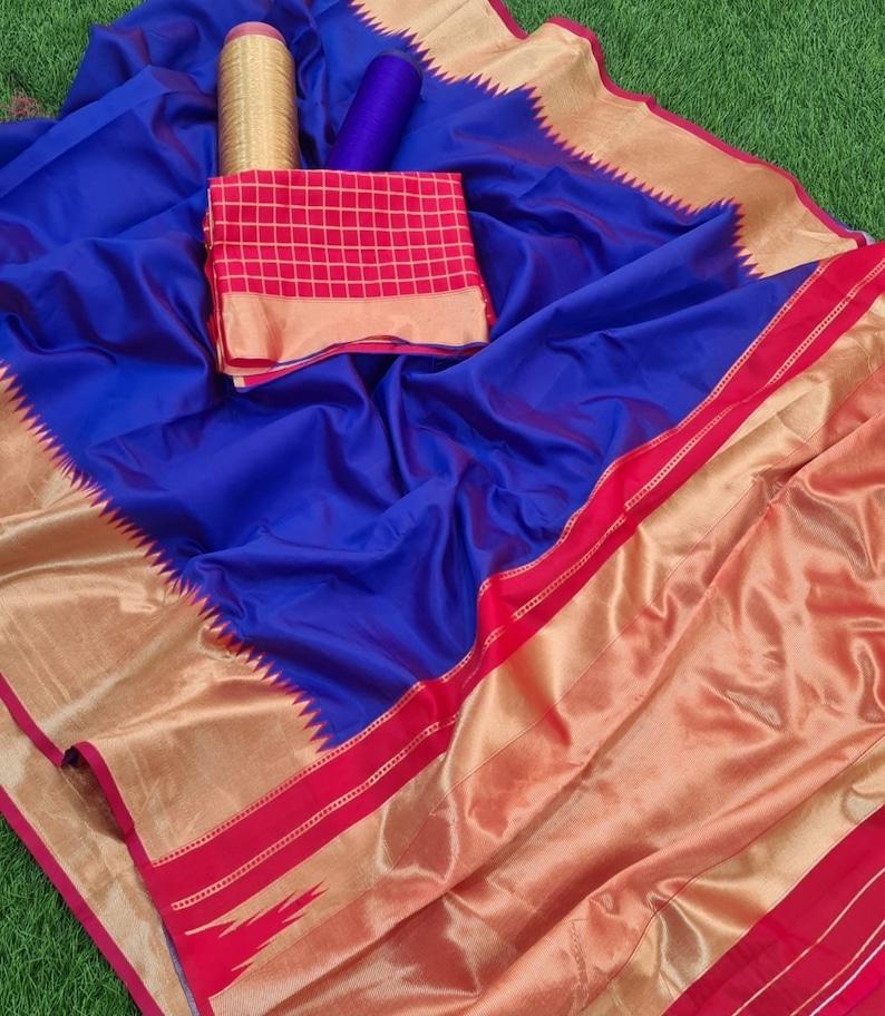 Pure Banarasi Silk Temple Border Saree Silk Weaving Work Saree for Women Wear Wedding Wear Party Wear Indian saree