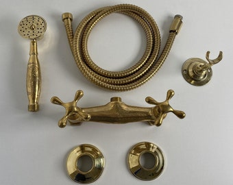 Brass Shower System,Unlacquered Brass shower , Luxury shower ,  Handheld Shower And Shower Head Combo,Rain Shower System