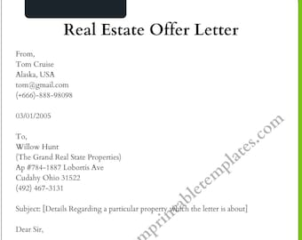 Printable Real Estate Offer Letter Template in PDF and Word