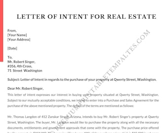 Letter of Intent Real Estate   Intent Letter [Pack of 5]