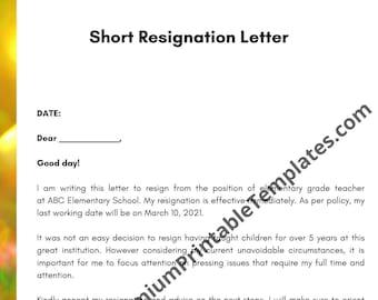 Short Resignation Letter   Letter Template