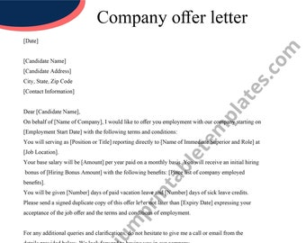 Company Offer Letter   Editable   PDF [Pack of 8]